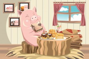 A pig eating a sandwich --- Image by © Artisticco/ImageZoo/Corbis